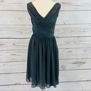 H&M grey ruched bust bridesmaid pleated sheer